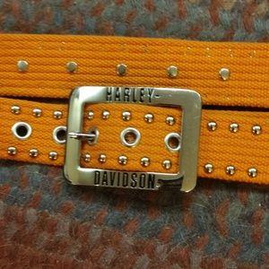 Harley Davidson orange, cotton belt with bling